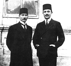 In front of the Sivas Congress building with former Minister of the Navy H.Rauf Orbay (1919)