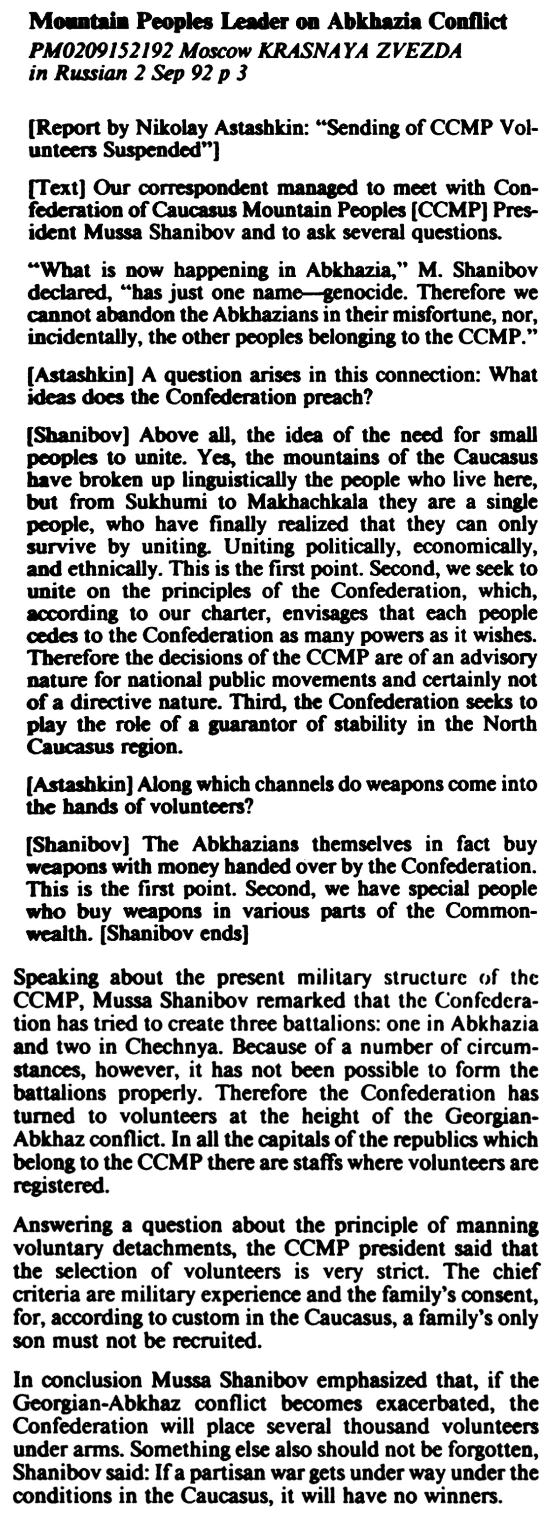 Mountain Peoples Leader on Abkhazia Conflict. KRASNAYA ZVEZDA (page 3)