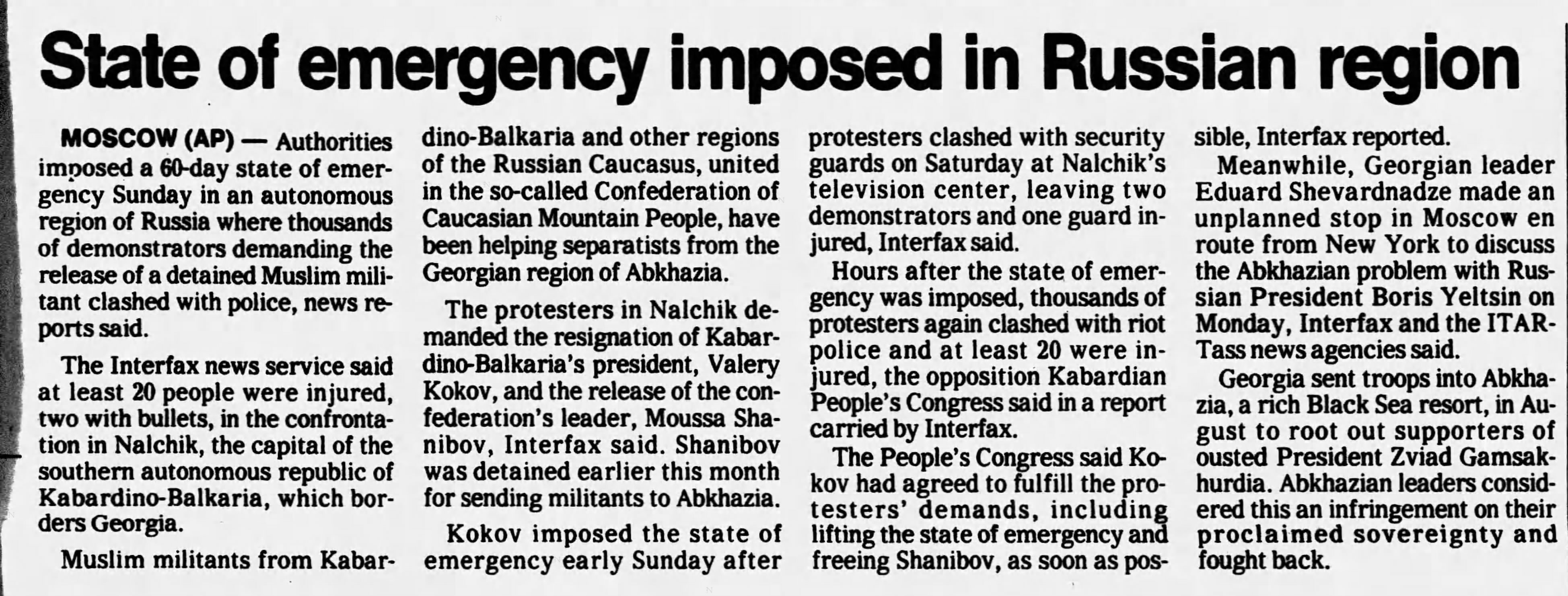 AP. State of emergency imposed in Russian region [Kabardino-Balkaria]