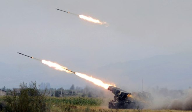 Georgian army rocket batteries firing on Ossetian cities and villages