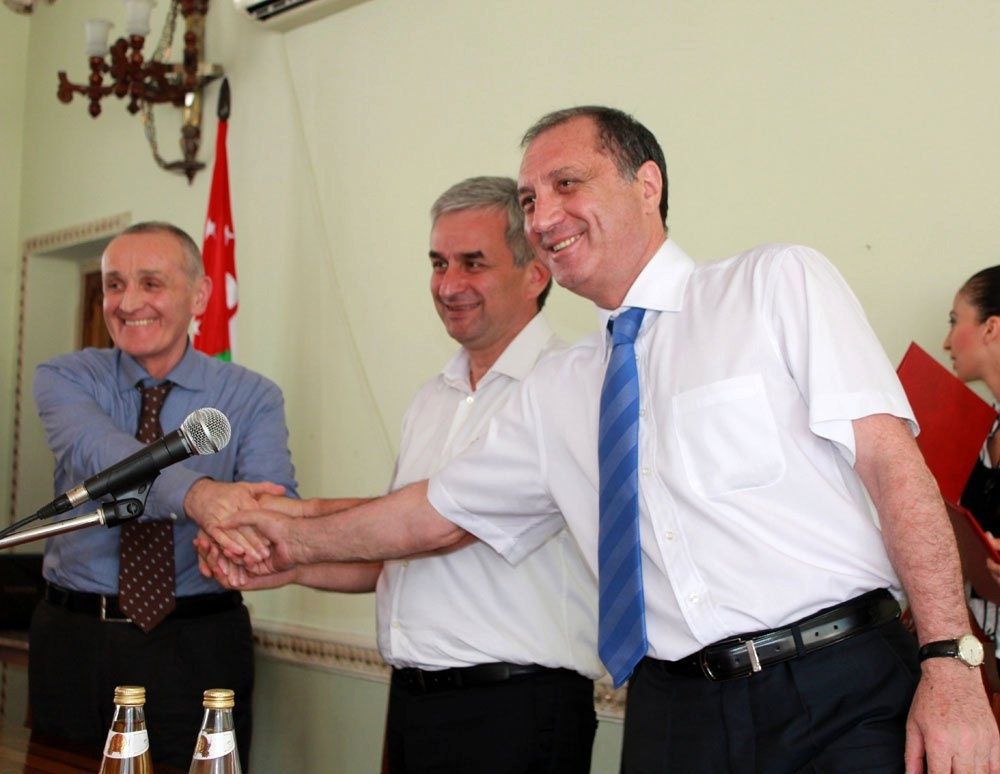 "Abkhazian presidential candidates Aleksandr Ankvab, Raul Khajimba, and Sergey Shamba have signed an agreement ""for clean and honest elections"""