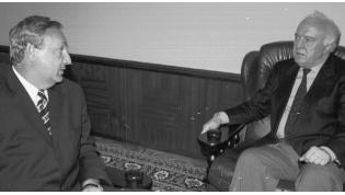 Sergey Bagapsh (left) and Eduard Shevardnadze. Tbilisi, 1997