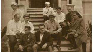 L. Beria, N.A. Lakoba, and V.D. Lakoba on steps of Smetsky family dacha.