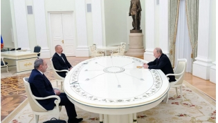 Vladimir Putin, Ilham Aliyev, and Nikol Pashinyan discuss the Nagorno-Karabakh conflict